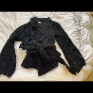 New Black POL luxurious sweater w/tie belt